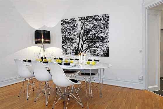 Departamento moderno en blanco con detalles en colores 5