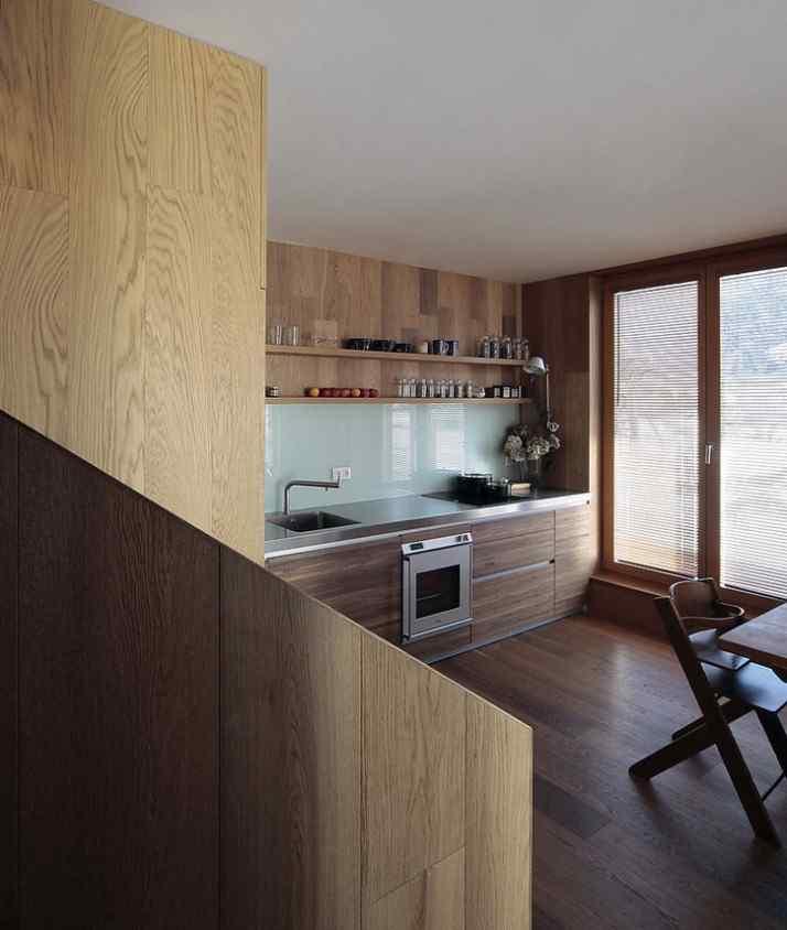 Diseño interior y exterior moderno contemporáneo en una cabaña alpina 8