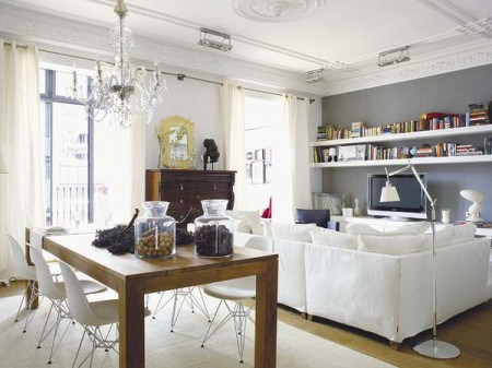 Interiores modernos en departamento antiguo for Decoraciones interiores de departamentos