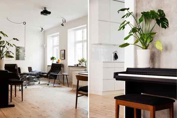 Puro blanco y mucha madera en la decoración de un departamento de 2 ambientes 2