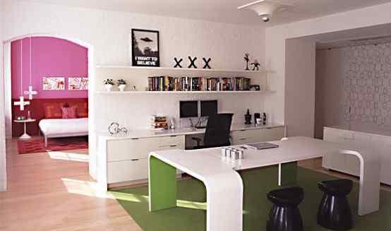 Loft con decoración en tonos rosa 3