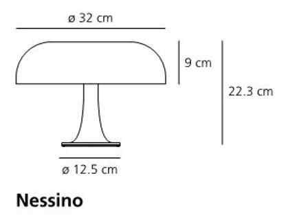 Medidas de la lámpara de mesa Nessino de Artemide