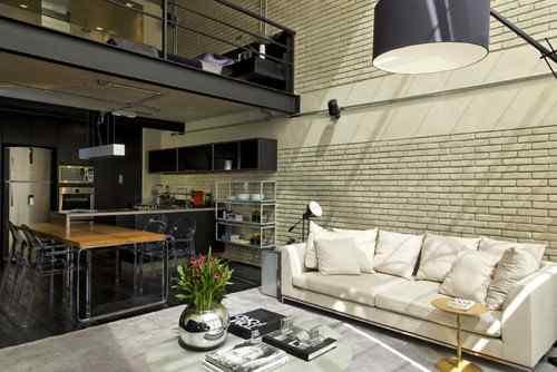 Living en loft moderno en estilo industrial