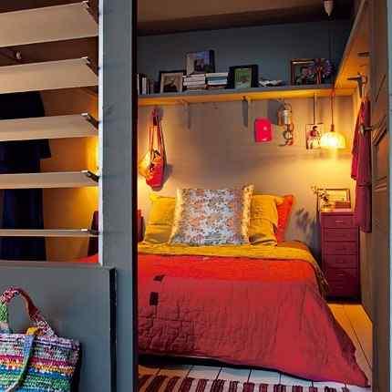 Colorido loft parisino - dormitorio
