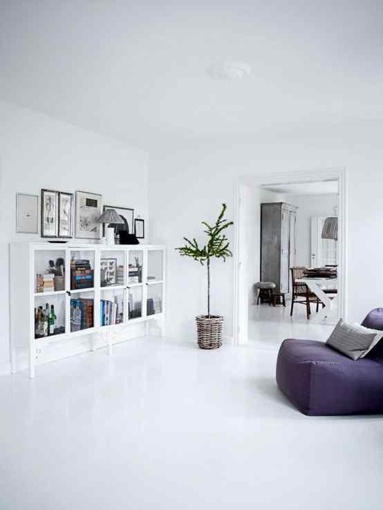 Decoración de casas con estilo nórdico minimalista en blanco 2