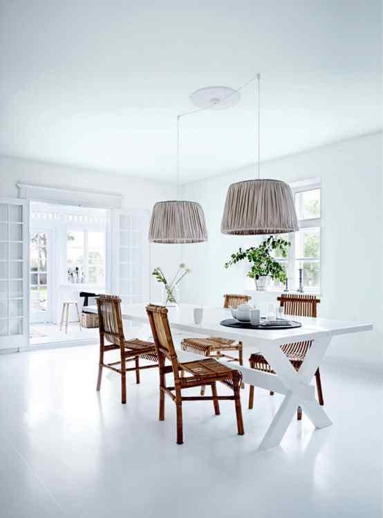 Decoración de casas con estilo nórdico minimalista en blanco 3
