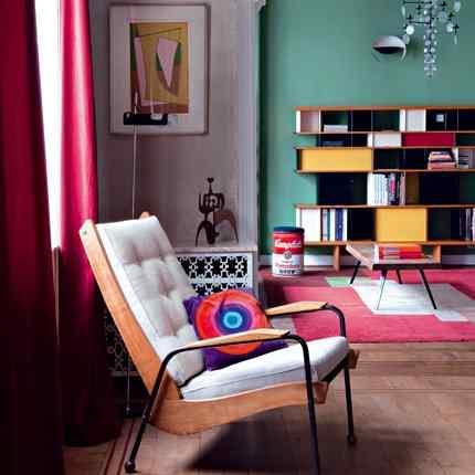 departamento con colores y muebles vintage
