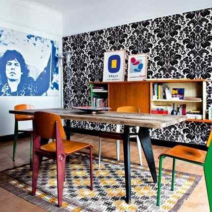 departamento con colores y muebles retro vintage