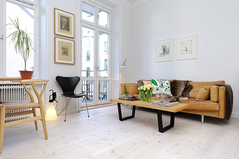 Decoraci n de monoambientes estilo escandinavo y muebles for Diseno de interiores estudios pequenos