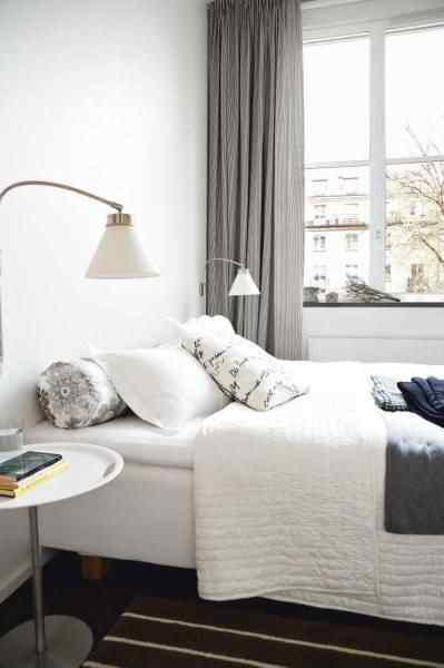 Departamento pequeño escandinavo - dormitorio en blanco y negro