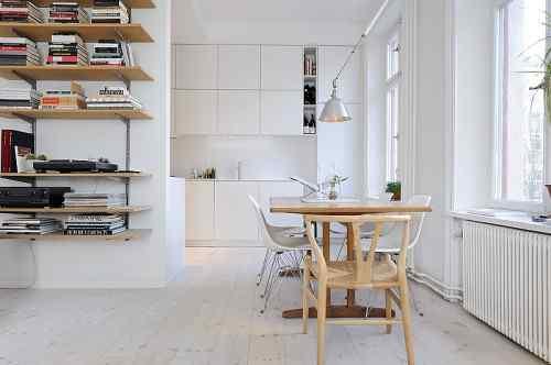 Monoambiente decorado en estilo escandinavo