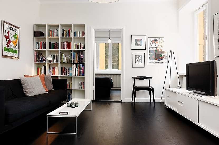 living room black and white theme departamento moderno de 47 metros ambientado en blanco y negro 24674