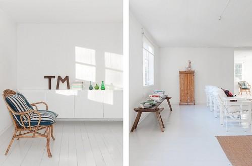 Living minimalista en cabaña