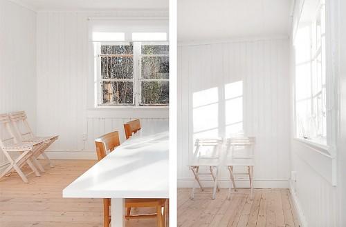 Comedor minimalista en cabaña