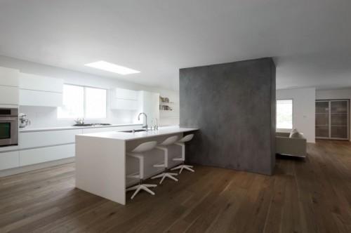 Barra cocina moderna en casa moderna minimalista