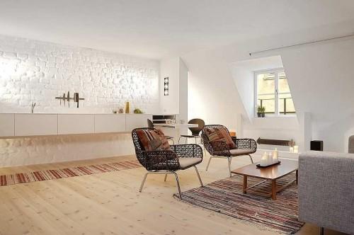 Pequeño monoambiente en estilo moderno y escandinavo