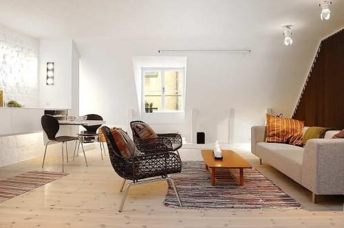 Living en monoambiente en estilo moderno y escandinavo