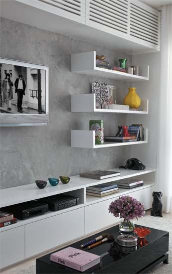 Diseño de interiores de departamentos modernos: estantes living