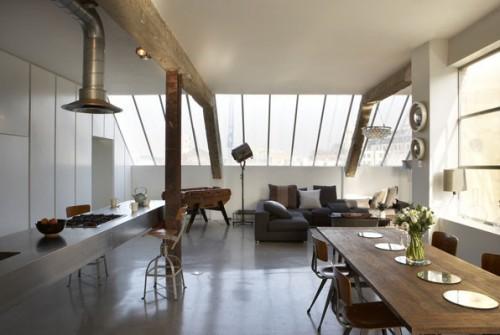 Comedor en loft moderno estilo industrial