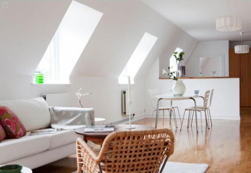 Decoración de departamentos modernos estilo escandinavo: living comedor