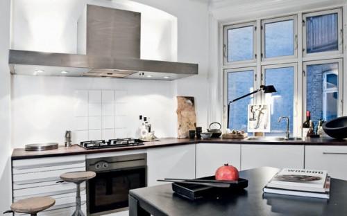 Interiores departamento minimalista blanco cocina
