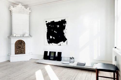 Interiores departamento minimalista blanco living