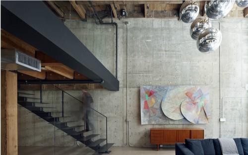 Paredes de cemento en un loft moderno