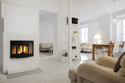 Living apartamento moderno blanco absoluto