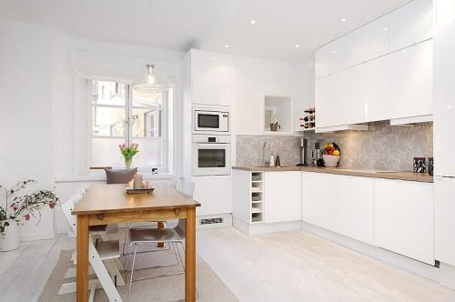 Cocina apartamento moderno blanco absoluto