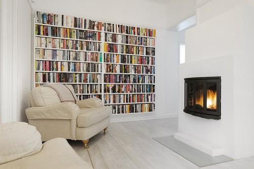 Biblioteca moderna apartamento blanco absoluto