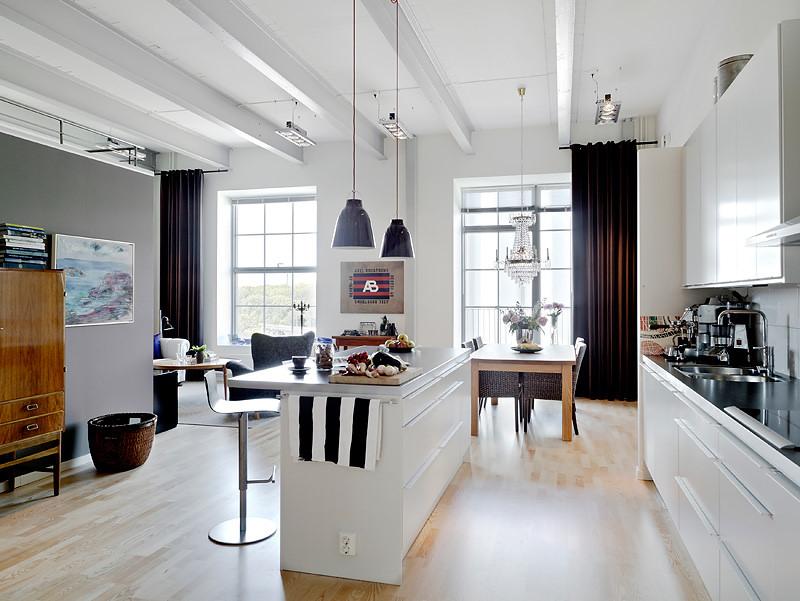 Departamento de 3 ambientes estilo loft for Cocina industrial tipo loft
