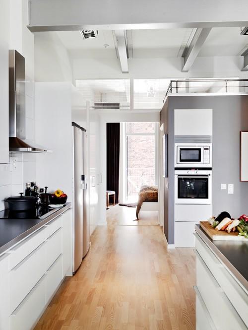 Cocina moderna en departamento estilo loft