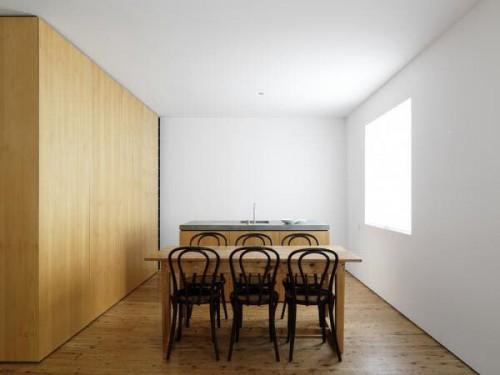 Cocina minimalista con comedor diario