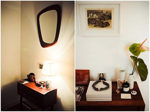 Interior de un departamento con muebles de diseño clásico modernos: mesa lateral