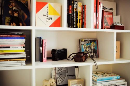 Interior de un departamento con muebles de diseño clásico modernos: biblioteca