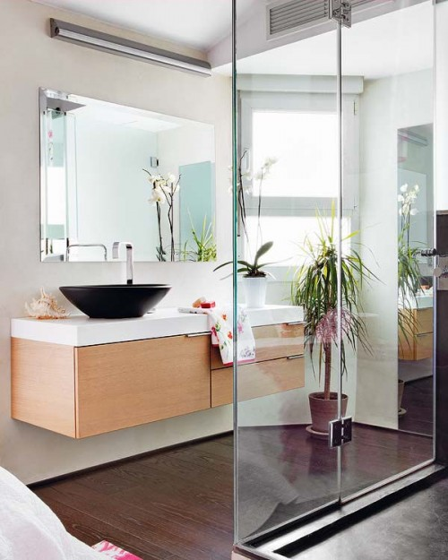 Baño moderno en duplex con estilo loft