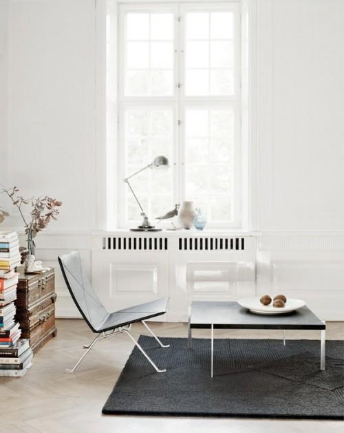 Living minimalista en estilo clásico