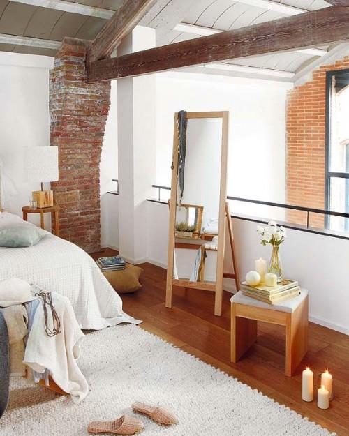 Dormitorio en loft de estilo industrial