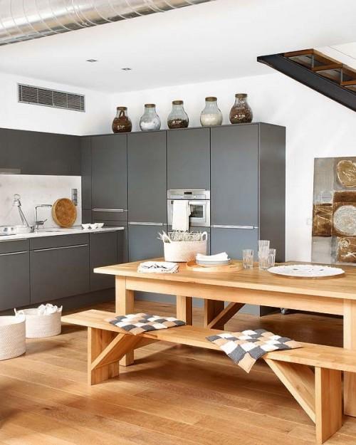 Cocina gris loft industrial