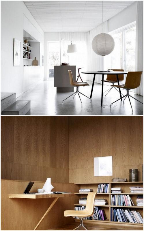 Casa moderna con pisos de cemento y paredes de madera