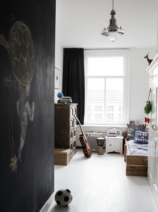 Decoración en blanco y negro del dormitorio infantil