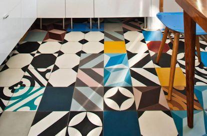 Cocina pisos coloridos