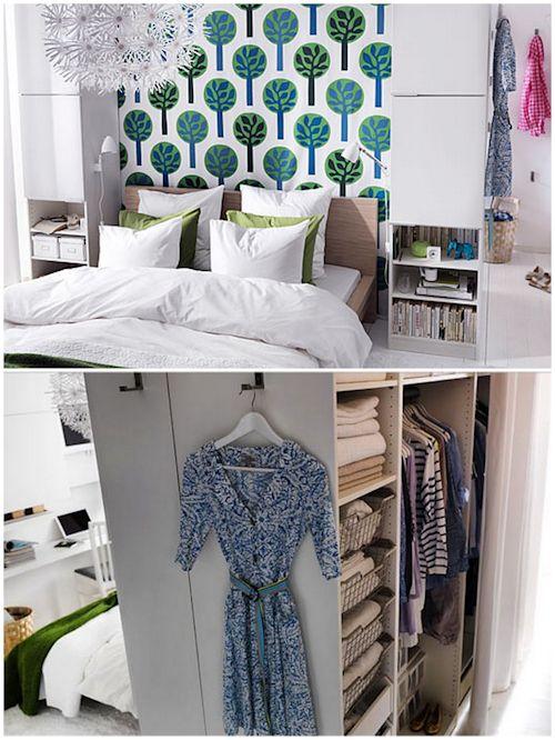 Vestidor en dormitorio pequeño