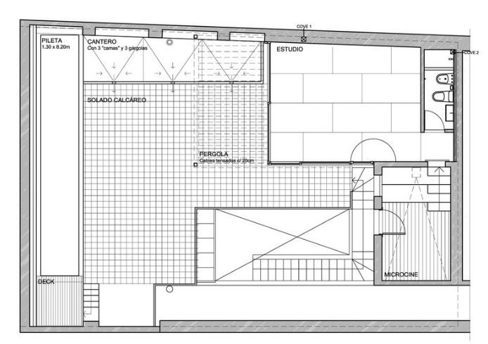 Plano de la planta alta y terraza del PH