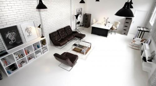 Decoración de interiores modernos en blanco y negro