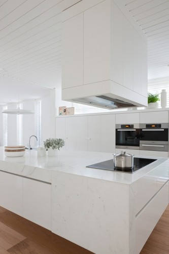 Cocina con isla minimalista y moderna