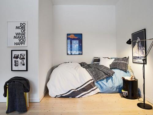 Dormitorio monoambiente bien sectorizado