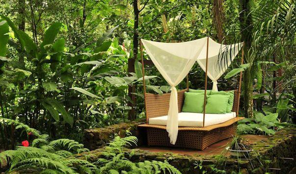 Jardín moderno y tropical, espacio de relax