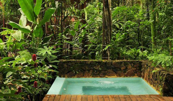 Jardín con diseño moderno y frondosa vegetación