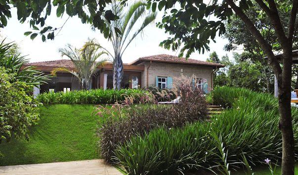 Jardin moderno y tropical con palmeras